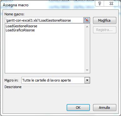 Gantt con Excel - assegna macro