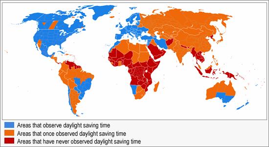 Daylight Saving Time Map