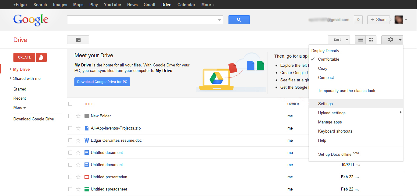 Free Excel - Google Drive Control Pannel