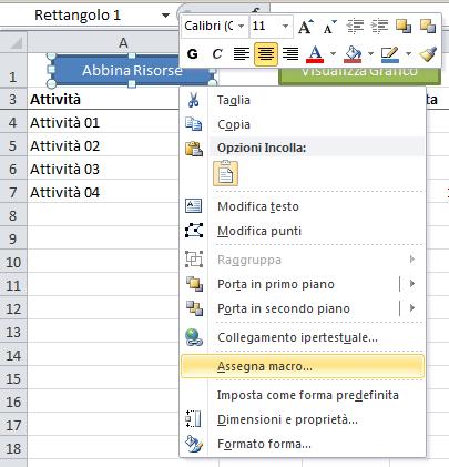 Gantt con Excel - abbina risorse